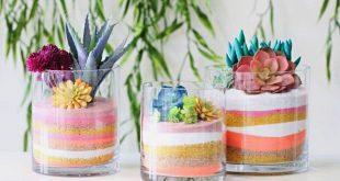 Comment décorer un vase transparent avec du sable